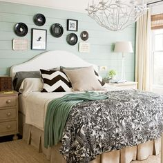 LOVE the wooden planks on the walls... Home Bedroom, Master Bedrooms, Mint Bedrooms, Guest Bedrooms, Bedroom Retreat, Chevron Pillow, Southern Living, Southern Charm, Simply Seleta