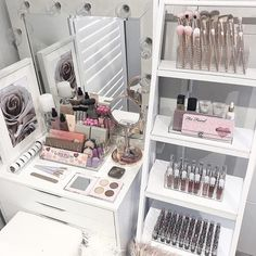 Today's vibe . Using my IKEA Alex 6 draw unit and Freedom Ladder stand. Both pieces hold our storage pieces perfectly and create such a girly yet, elegant vibe . Storage items on the ladder (top to bottom) VC Lipgloss holder. VC Foundation Holder. VC Lipgloss holder. XL Lipstick holder. . On the Alex unit VC Glamour Stand Small compact holder. . See today's post for close ups and direct links to the items and our website xx . Afterpay and ZipPay available. B...