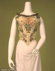 Lady's Metallic Brocade Bodice, 18th C, Augusta Auctions, October 2007 Vintage Clothing & Textile Auction, Lot 733