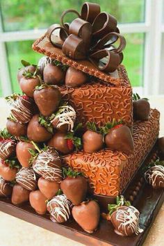 2 Tier Chocolate Cake with Dipped Stawberries