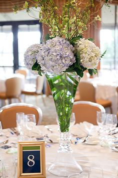 Stems of hydrangeas pop against greenery and branches.