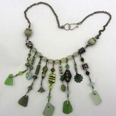 Necklace, hand made beach glass necklace. 130,00, via Etsy.