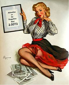 """Grapefruit Moon Gallery — Gil Elvgren """"Waiting For You."""" A preliminary..."""