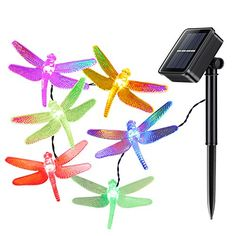 Kohree Solar Christmas String Lights 197ft 6m 30 LED Fairy Lights String Dragonfly Lights for Outdoor Gardens Homes Wedding Multi color Solar lights -- Check this awesome product by going to the link at the image.
