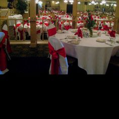 Our reception venue with 1/2 back chair covers