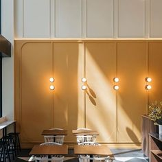 Home Decoration For Small House Retail Interior, Restaurant Interior Design, Commercial Interior Design, Cafe Interior, Interior Walls, Interior And Exterior, Brewery Interior, Pastel Interior, Yellow Interior