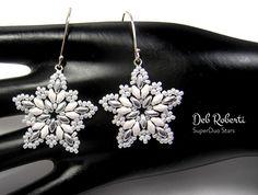 Bead up some SuperDuo Stars that can be used to make earrings or… - Perlen Schmuck Beaded Earrings Patterns, Bead Earrings, Earrings Online, Bracelet Patterns, Starburst Earrings, Fine Jewelry, Jewelry Making, Earring Tutorial, Homemade Jewelry