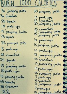 Burn 1000 Calories (Replace jumping jacks with seconds of high knees and crunches with leg lifts) Fitness Tips, Fitness Motivation, Health Fitness, Fitness Exercises, Body Fitness, Ana Workout, Crunch Workout, Workout Ideas, Zumba