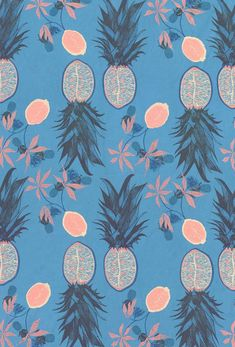 Hannah Rampley - Blue and pink pineapple print / pattern Motifs Textiles, Textile Prints, Textile Patterns, Color Patterns, Print Patterns, Art Prints, Motif Floral, Arte Floral, Of Wallpaper