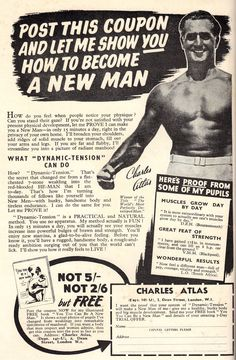Fantastic Adventures Magazine- 1950. 'Charles Atlas' Muscle Building, Build Muscle, Adventure Magazine, Magazine Ads, 1940s, How To Become, Weight Loss, Let It Be, Feelings