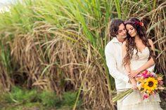 Our boho wedding. Portraits among the sugar cane fields. Dress by Yolancris for sale! More pics at http://muuttolintu.com/2015/11/22/meidan-rantahaat-australiassa/