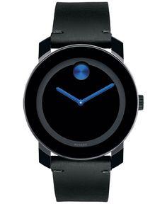 Movado Men's Swiss Bold Black Leather Strap Watch 42mm 3600307
