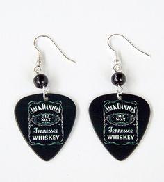 Black Jack Daniel's Guitar Pick Earrings by Pornoromantic