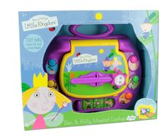 Ben & Holly Magical Laptop.  Age 2+  Beautiful illustrated laptop with 4 game modes.  voice of Holly and all the characters. Use the magic wand to answer.  Musical keys.