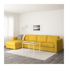 VIMLE 4:n istuttava sohva - divaanin kanssa/Orrsta kullankeltainen - IKEA
