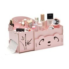 Cartoon Wooden Makeup Organizer Panda Bamboo Tissue Box Fashion Women Jewelry Cosmetic Organizer Folding Storage Box for Office Makeup Storage, Makeup Organization, Diy Storage, Wooden Makeup Organizer, Beauty Organizer, Power Tool Storage, Gatos Cool, Panda, Wooden Storage Boxes