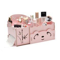 Cartoon Wooden Makeup Organizer Panda Bamboo Tissue Box Fashion Women Jewelry Cosmetic Organizer Folding Storage Box for Office Makeup Storage, Makeup Organization, Diy Storage, Wooden Makeup Organizer, Beauty Organizer, Gatos Cool, Panda, Wooden Storage Boxes, Daughters Room