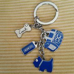 Coach Blue  Keychain - Doggie, Carrier & Bone Cute Coach keychain with Doggie theme blue items.   NEW Coach Accessories Key & Card Holders