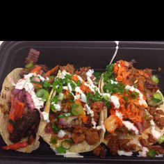 BBQ short rib and two spicy seared pork tacos @ Kimchi Taco Truck in New York, NY
