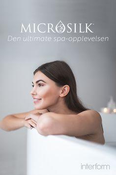 Badekar med MicroSilk øker oksygenet i vannet opptil 70% mer enn vanlig springvann. MicroSilk har en svært helsebringende effekt, da det trenger inn i hudens porer, fjerner urenheter og tilfører fuktighet. Bathroom Ideas, Random, Kunst, Casual, Decorating Bathrooms
