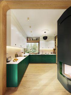 Garden Greens Add Personality to this Warm and Modern Apartment Garden greens give personality to th Green Kitchen Interior, Green Kitchen Designs, The Secret Garden, Futuristisches Design, Deco Design, Architecture Design, Contemporary Apartment, Kitchen Collection, Cuisines Design