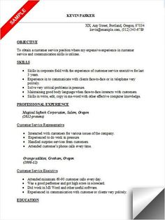 Resume Objective Example For Customer Service Resumeobjectiveexamples7  Resume Cv Examples  Pinterest .