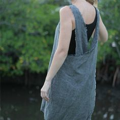 LOVE :: Gray Linen Pinafore by RetroHome on Etsy