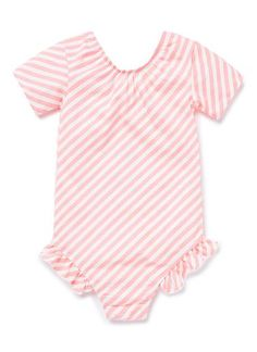Cotton/Elastane blend Leotard. Jersey leotard with short sleeve, gathered scooped neckline and frill over hip. Features all over yardage print. Neat fitting silhouette, with snaps in gussett. Available in Black and Sherbet.