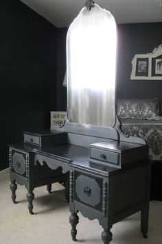 """This vanity was paired with Wood Icing™ Furniture Glazing Color - """"Black Licorice"""" over the top of Graphite, Chalk Paint® Decorative Paint by Annie Sloan. For a soft satin feel I waxed and buffed over the entire piece with Chalk Paint® Clear Soft Wax by Annie Sloan.  I think it looks so romantic in my Black and White guest room"""