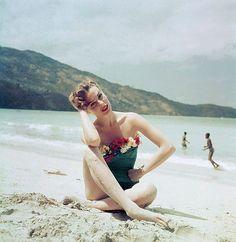 Fashion models pose for Milton Greene c. 1950s