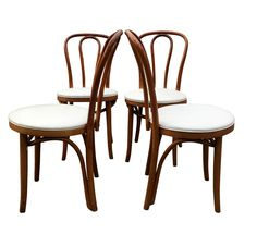 Vintage Bentwood Dining Chairs in White - Set of 4