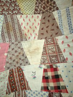 """Antique 1876 Signed Dated Tumbler Block Charm Patchwork Quilt 750 Pcs 92""""X90"""" 