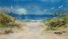 """Fused glass beach scene panel 18"""" x 30"""". Can be used as wall art mural or kitchen backsplash."""