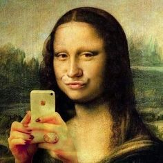 Wallpaper of Mona Lisa by Da Vinci for fans of Fine Art. Mona Lisa by Leonardo Da Vinci Lisa Gherardini, Mona Lisa Parody, Mona Lisa Smile, Most Famous Paintings, Famous Artwork, Duck Face, Humor Grafico, Haha Funny, Funny Stuff