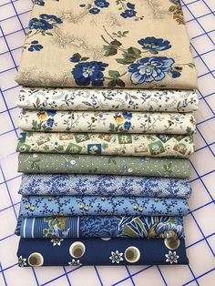 BESSIE'S BLUES - 9 Civil War Reproduction Quilt Fabric Fat Quarters- Molly B's Studio for Marcus Brothers