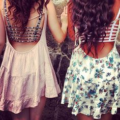 "Brandy Melville low back dresses with cool bandeaus. For the ""I don't care"" in us all"