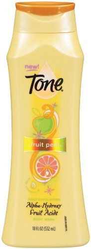 Tone Body Wash, Fruit Peel, 18 Ounce by Tone. $3.50. Alpha Hydroxy fruit acids. Daily exfoliating. With vitamin E. An apple a day keeps dull skin away.the creamy lather of tone fruit peel body wash blends sun-kissed apple, kiwi and citrus with ahas to gently exfoliate and leave skin smooth and soft. Orange-u-looking fabulous.. Save 50%!