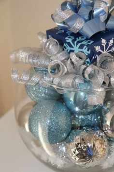 Unique Christmas Centerpiece - Silver and Blue Holiday Decoration on Etsy Silver Christmas Decorations, Holiday Centerpieces, Christmas Colors, Winter Christmas, Christmas Home, Christmas Crafts, Winter Centerpieces, Centrepieces, Christmas Ornaments