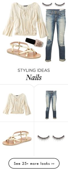 """""""Untitled #1425"""" by moria801 on Polyvore featuring Ancient Greek Sandals, rag & bone, American Eagle Outfitters, OPI and shu uemura"""