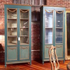 randall tysinger teal french bookcases - painted blue book cases --- could do same with china cabinet