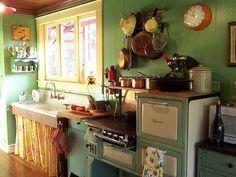 Farmhouse Sinks retro kitchen- Mine and Hanna's dream kitchen if it's just the three of us.retro kitchen- Mine and Hanna's dream kitchen if it's just the three of us. Boho Kitchen, Green Kitchen, Country Kitchen, New Kitchen, Vintage Kitchen, Kitchen Decor, Country Sink, Kitchen Rustic, Kitchen Ideas