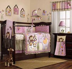 Pink and Purple Jungle Safari Animals Baby Girl Crib Bedding Nursery Set in Baby, Nursery Bedding, Crib Bedding Baby Girl Crib Bedding, Nursery Bedding, Baby Cribs, Nursery Room, Girl Nursery, Nursery Ideas, Nursery Furniture, Themed Nursery, Nursery Decor