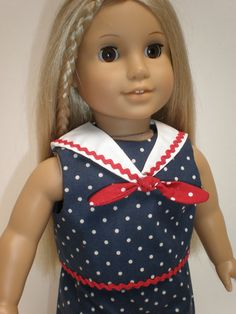 SLEEVELESS CROPPED TOP (Navy/Red) Sailor Collar** 18 inch doll clothes