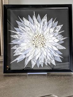 "White Flower 3D Art, Wall Art, Washi Art, Home Decor, Japanese Rice Paper Art, Origami Art, Framed Art, Gift, Free Shipping, 13""x13""x1"" Paper Flower Art, Paper Flowers, Paper Art, Japanese Origami, Japanese Rice, 3d Wall Art, Butterfly Art, Paper Dimensions, Origami Paper"