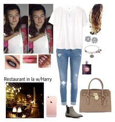 """""""Restaurant in LA w/Harry"""" by tiffany-london-1 ❤ liked on Polyvore featuring River Island, MANGO, LORAC, Effy Jewelry, MICHAEL Michael Kors and Yves Saint Laurent"""