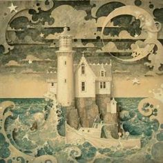 The Lighthouse by Daniel Merriam. this would be a fabulous idea for a kid's mural