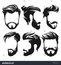 Vector vintage hairstyle barber shop logo for your design Mens Hairstyles With Beard, Hipster Hairstyles, Vintage Hairstyles, Barber Logo, Barber Shop, Hair Vector, Vector Art, Image Vector, Shop Logo