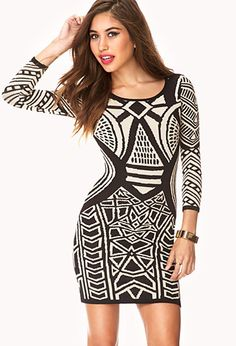 Striking Abstract Bodycon Dress | FOREVER21 - 2000074341