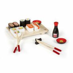 Kit en bois pour la réalisation de sushis Bois, noir, blanc, orange, rouge - Icook - Jeux d'imitation - Les jeux et jouets - Univers des enf...