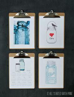 Mason Jar Printables - Mason Jar Clipboard Art with Printables